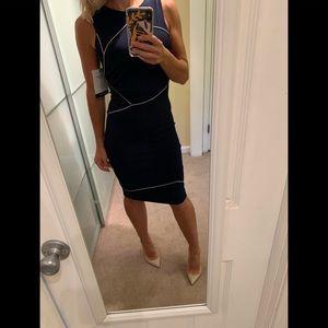 NWT Fendi Navy Dress with chain link stitch 40